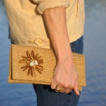 Linen Clutch with Brooch