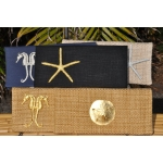 Black linen clutch with golden Seahorses