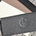 Monogrammed wool felted Clutch